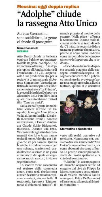ADOLPHE - Intervista ad A. Sterrantino di M. Bonardelli - Gazzetta del Sud 22.03.15