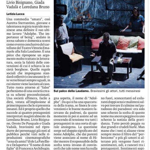 ADOLPHE - Recensione di Letizia Lucca, Gazzetta del Sud 19.06.15