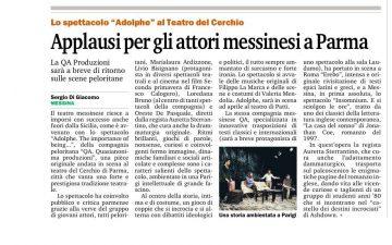 ADOLPHE a Parma - Gazzetta del Sud 08.03.16