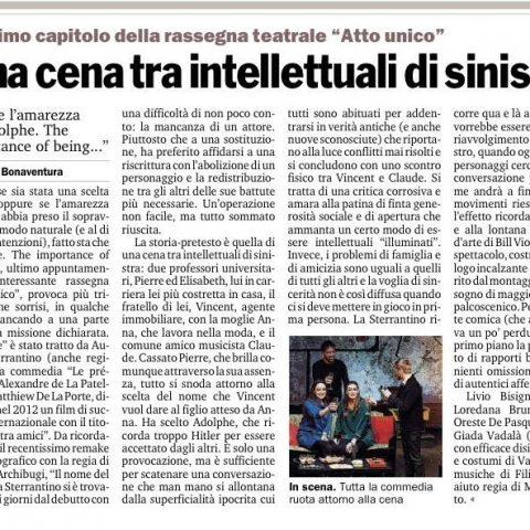 ADOLPHE - recensione di V. Bonaventura Gazzetta del Sud 25.03.15
