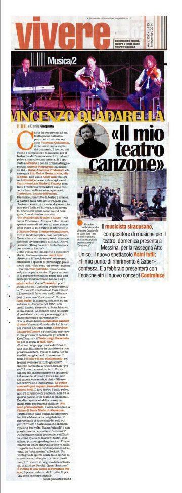 ASINI TUTTI - Vivere, inserto dedicato agli spettacoli del quotidiano La Sicilia 06.11.14