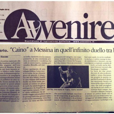 CAINO - Avvenire, 26.07.16 Recensione di Sergio Di Giacomo