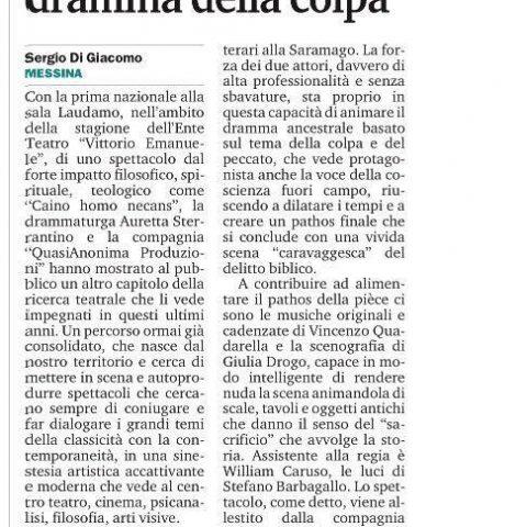 CAINO - Recensione di Di Giacomo, Gazzetta del Sud 22.06.16