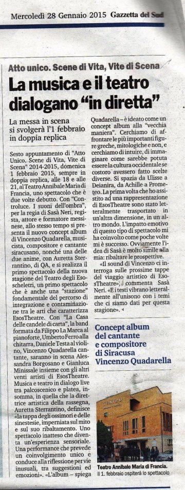 CONTROLUCE - Gazzetta del Sud ed. Messina 28.01.15