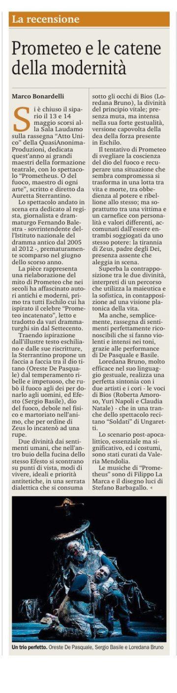 PROMETHEUS - Gazzetta del Sud 17.05.17