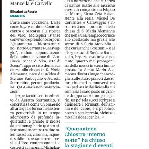 QUARANTENA - Recensione E. Reale - Gazzetta del Sud 3/06/2108