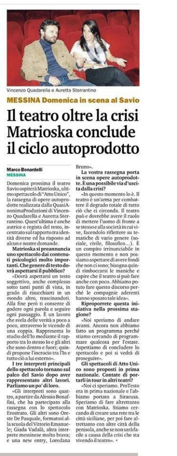 MATRIOSKA - Gazzetta del Sud 27.03.14