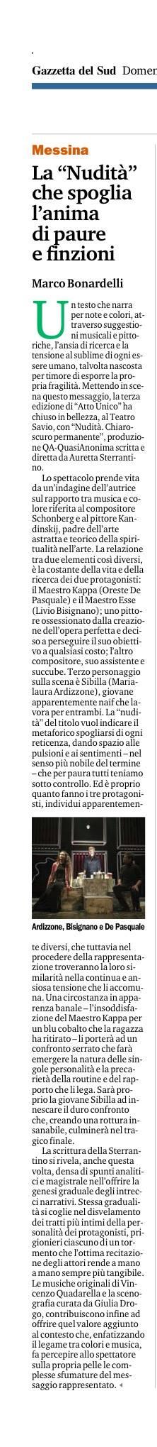 NUDITÀ - Gazzetta del Sud 24.04.16 recensione Bonardelli