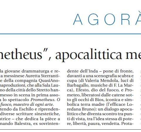 PROMETHEUS - Recensione di Sergio Di Giacomo, Avvenire 6.6.2017