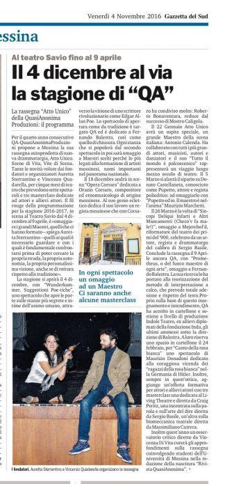 QA e AU 16 17 - Gazzetta del Sud 04.11.16