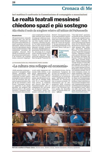 QA in commisione cultura - Gazzetta del Sud 25.11.16