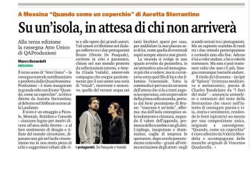 QUANDO, COME UN COPERCHIO - Recensione Bonardelli Gazzetta del Sud 28.10.15