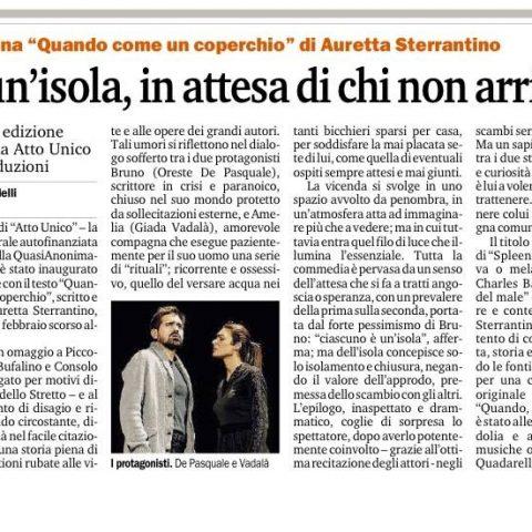 QUANDO, COME UN COPERCHIO - Recensione Gazzetta del Sud Bonardelli 28.10.15
