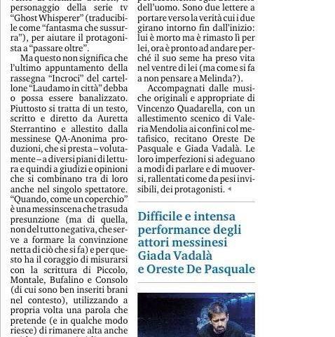 QUANDO, COME UN COPERCHIO - recensione di Bonaventura, Gazzetta del Sud 09.02.15