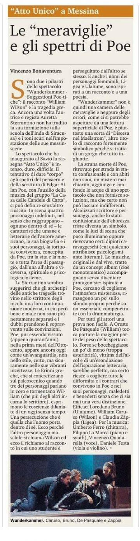 WUNDERKAMMER - recensione V. Bonaventura su Gazzetta del Sud 07.12.16